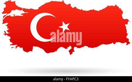 Turkey map flag, red with moon and star - Stock Photo