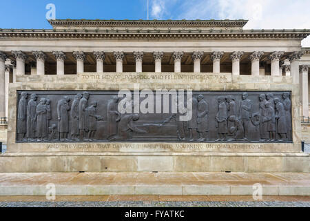 The Liverpool Cenotaph in front of St George's Hall, St George's Plateau, Liverpool, Merseyside, England, UK - Stock Photo