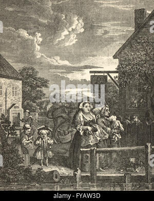 Four Times of the Day, Evening by William Hogarth circa 1736 - Stock Photo
