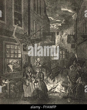 Four Times of the Day, Night by William Hogarth circa 1736 - Stock Photo