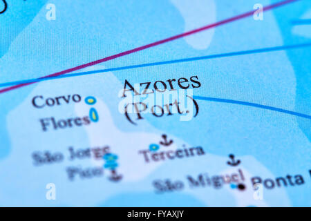 Azores Islands on the World Map - Stock Photo