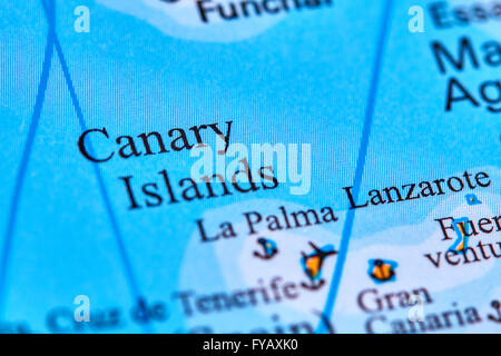 Canary Islands on the World Map - Stock Photo
