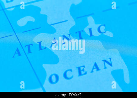 Atlantic Ocean on The World Map - Stock Photo
