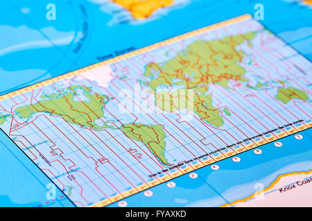 Time Zones on the World Map - Stock Photo