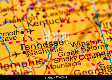 Tennessee On USA Map With Map Of The State Stock Photo Royalty - Memphison us map