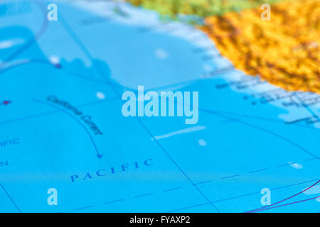 Pacific Ocean on The World Map - Stock Photo