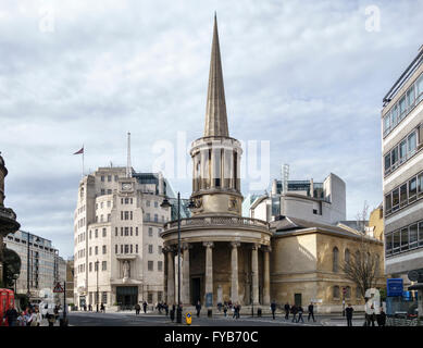All Souls Church (John Nash, 1824), Langham Place, London. Behind it stands Broadcasting House, the BBC headquarters - Stock Photo