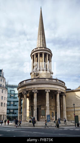 All Souls Church, Langham Place, London, UK. Designed by John Nash and completed in 1824, it stands at the top of - Stock Photo