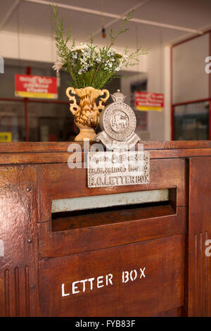 Sri Lanka, Nuwara Eliya, Post Office interior, wooden letter posting box - Stock Photo