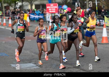 London, UK. 24th April 2016. Virgin Money London Marathon 2016, The Highway, London, UK. Credit:  Simon Balson/Alamy - Stock Photo