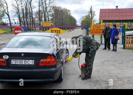 GOMEL REGION, BELARUS. APRIL 23, 2016. A check point at an entrance to the village of Babchin, Khoiniksky District, - Stock Photo