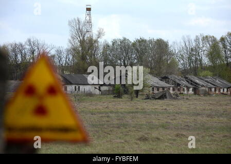 GOMEL REGION, BELARUS. APRIL 23, 2016. Abandoned houses in the village of Babchin, Khoiniksky District, located - Stock Photo