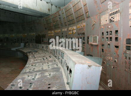 CHERNOBYL, UKRAINE. Pictured in this file image is a control desk of Unit 4 of the Chernobyl power station. On April - Stock Photo