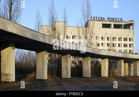PRIPYAT, UKRAINE. Pictured in this file image is the abandoned Polesye hotel near the Chernobyl power station. On - Stock Photo