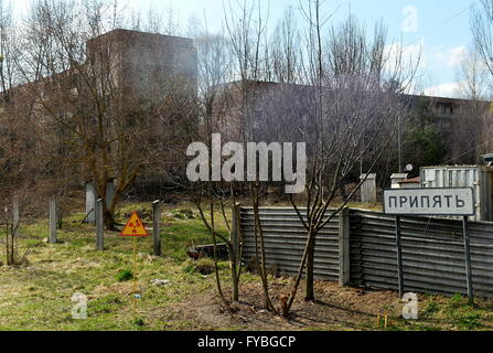 PRIPYAT, UKRAINE. Pictured in this file image is a district of the city of Pripyat, 2 km from the Chernobyl power - Stock Photo