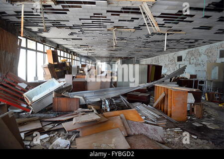 PRIPYAT, UKRAINE. Pictured in this file image is an abandoned building in the city of Pripyat, 2 km from the Chernobyl - Stock Photo