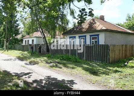 CHERNOBYL, UKRAINE. Pictured in this file image is a private house near the Chernobyl power station. On April 26, - Stock Photo