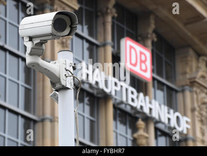 A security camera can be seen in front of the central train station in Frankfurt am Main, Germany, 25 April 2016. - Stock Photo
