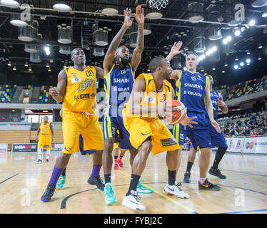London, UK  24th April, 2016. London Lions vs Sheffield Sharks at the Copper Box Arena in the  Olympic Park, Sheffield - Stock Photo