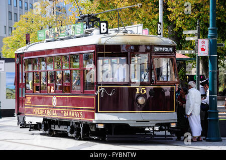 Christchurch heritage tram, Cathedral Square, Christchurch, Canterbury Region, South Island, New Zealand - Stock Photo