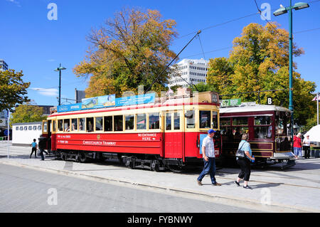 Christchurch heritage trams, Cathedral Square, Christchurch, Canterbury Region, South Island, New Zealand - Stock Photo