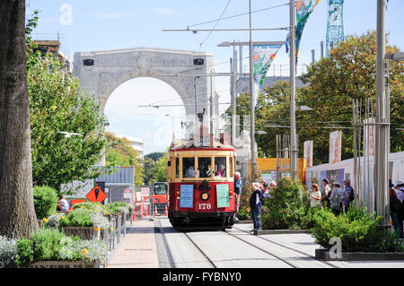 Christchurch heritage tram, Cashel Street, Christchurch, Canterbury Region, South Island, New Zealand - Stock Photo