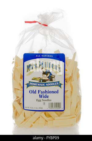 Winneconne, WI - 23 Dec 2015: Bag of Mrs. Miller's homemade old fashioned wide egg noodles. - Stock Photo