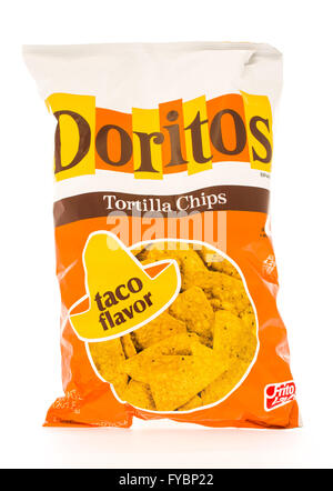 Winneconni, WI - 19 June 2015: Bag of Doritos in taco flavor which is owned by Frito-Lay - Stock Photo