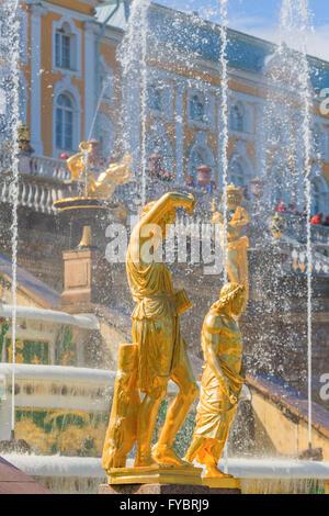 Sculptures and fountains of Grand Cascade, Peterhof, Saint Petersburg, Russia - Stock Photo
