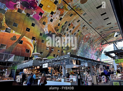 Colorful interior of the Rotterdamse Markthal (Rotterdam Market hall) at the Blaak square Dutch Netherlands - Stock Photo