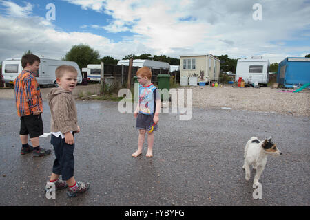 Dale Farm, on the outskirts of  Basildon, Essex, the largest Irish Traveller and Gypsy site in Europe - Stock Photo