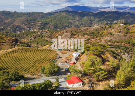 Landscape with hills and bushes in Troodos mountains, Cyprus - Stock Photo