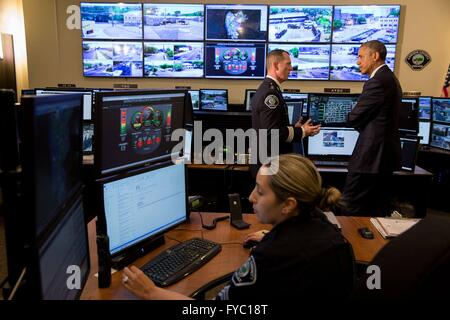U.S President Barack Obama, with Camden County Metro Police Chief John Scott Thomson during a tour of the Real Time - Stock Photo