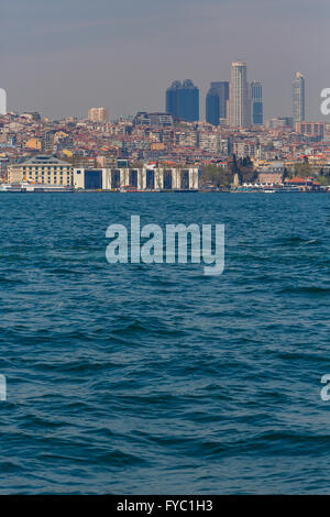 ISTANBUL, TURKEY - APRIL 27, 2015: view on skyscrapers of Istanbul from Bosphorus - Stock Photo