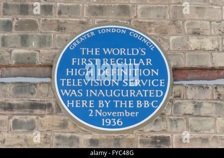 Blue plaque commemorating TV service at Alexandra Palace, London Borough of Haringey, Greater London, England, United - Stock Photo
