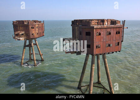 Maunsell naval forts - Red Sands sea forts - Stock Photo