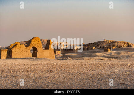 Image of ruins in the desert by Temple of Queen Hatsepsut, Egypt. - Stock Photo