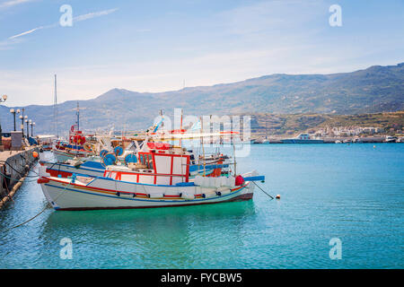 Image of fishing boats moored in Sitia, Crete. - Stock Photo