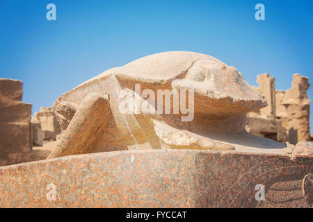Image of a scarab statue at temple of Karnak in Luxor, Egypt. - Stock Photo