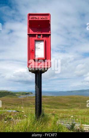 Red Royal Mail post box, Isle of Skye, Scotland, United Kingdom - Stock Photo