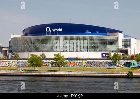O2 World, event venue, on the bank of the Spree river, East Side Gallery, Friedrichshain district, Berlin, Germany - Stock Photo