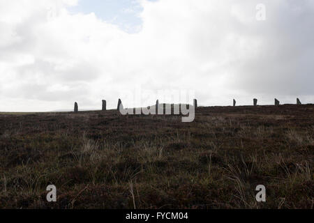 The Ring of Brodgar is a Neolithic henge and stone circle in Scotland - Stock Photo