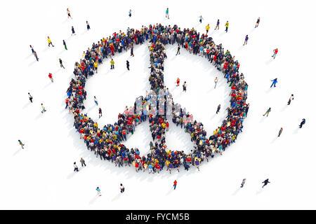 3D rendering of people peace
