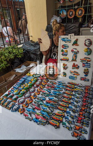 Vibrantly painted hand made souvenirs for the tourists visiting Old Havana to buy. Small covered market, Old Havana, - Stock Photo