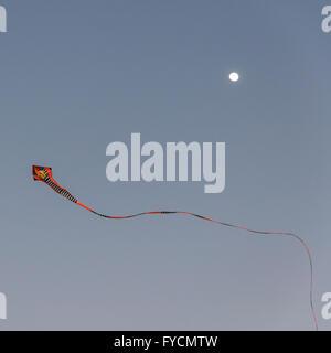 Kite at sunset with moon behind. Taken near Khaju Bridge, Isfahan, Iran - Stock Photo
