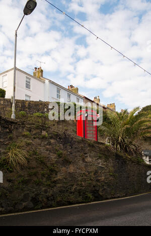 Red telephone box St Ives number 3575 - Stock Photo