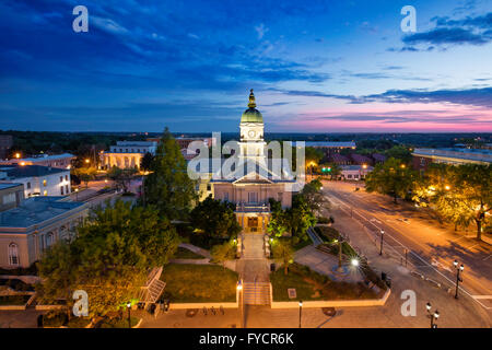 Morning twilight over city hall and town of Athens, Georgia, USA - Stock Photo