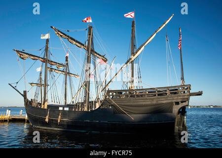 Replicas of Christopher Columbus' ships, Nina and Pinta docked in Ft. Myers, Florida, USA - Stock Photo