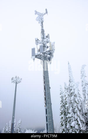 Snow covered telecommunication tower in the winter - Stock Photo