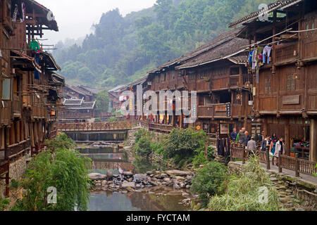 The Dong minority village of Zhaoxing - Stock Photo